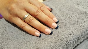 ACRYLIC NAILS BLUE FRENCH